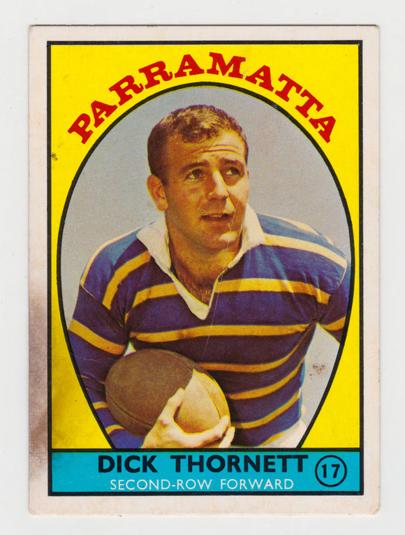 Scanlens 1968 A Grade NRL Football Card #17 - Dick Thornett - Parramatta