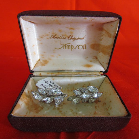 Donald Simpson Clear Rhinestone Earrings
