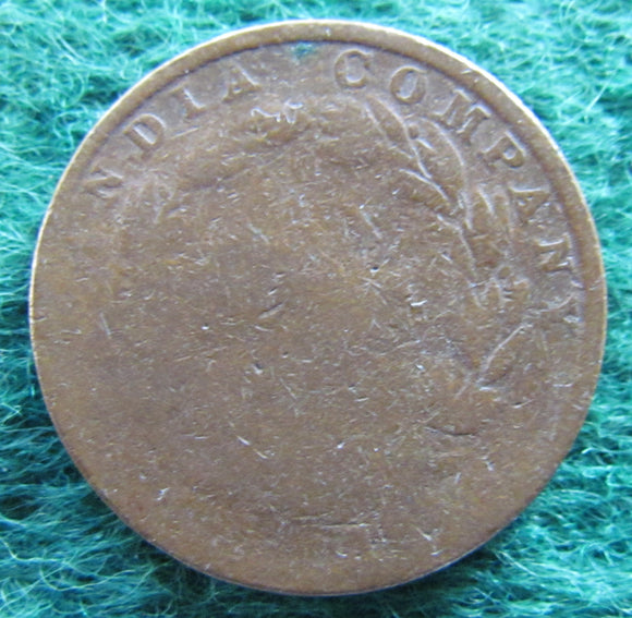 East India Company 1845 1/2 Cent Queen Victoria Coin - Circulated