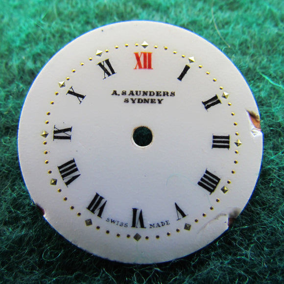 A Saunders Sydney Enamelled Watch Face With Roman Numerals Red Twelve 23.7mm Diameter