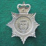 English Cheshire Constabulary Bright Police Helmet Plate Badge Queens Crown