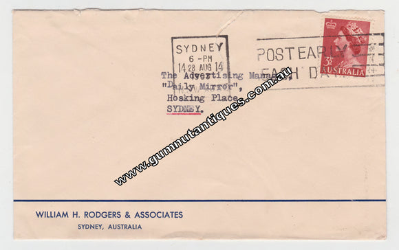 Australian Envelope To The Daily Mirror From William H Rodgers & Associates Postmarked 1953