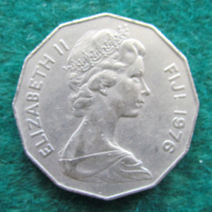 Fiji 1976 50 Cent Queen Elizabeth Coin - Circulated