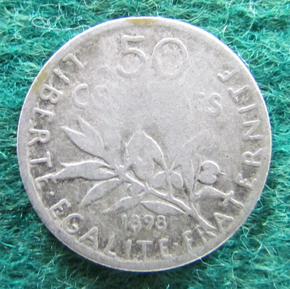 French 1898 50 Centimes Coin - Circulated