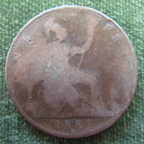 GB British UK English 1881 Penny Queen Victoria Coin - Bun Head
