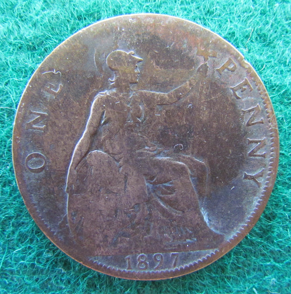 British UK English 1897 Penny Queen Victoria Coin