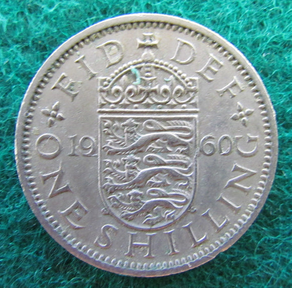 GB British UK English 1960 1 One Shilling Queen Elizabeth Coin