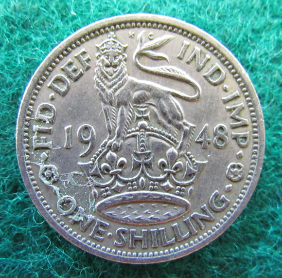 GB British UK English 1948 1 One Shilling King George VI Coin
