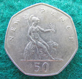 GB British UK English 1977 50 New Pence Queen Elizabeth II Coin