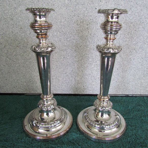 Georgian Sheffield Silver Plate Candlesticks x 2 c1830
