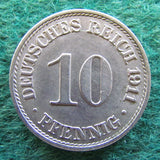 Germany 1911 10 Pfennig Coin - Circulated