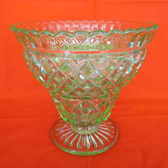 Green Citrine Glass Footed Vase With Frog c1950 - 1960