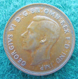 Australian 1945 Half Penny Y Dot King George VI Coin