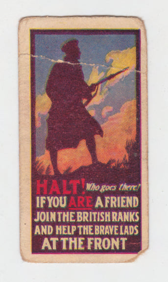 Halt Who Goes There Cigarette Card Recruiting Posters Series