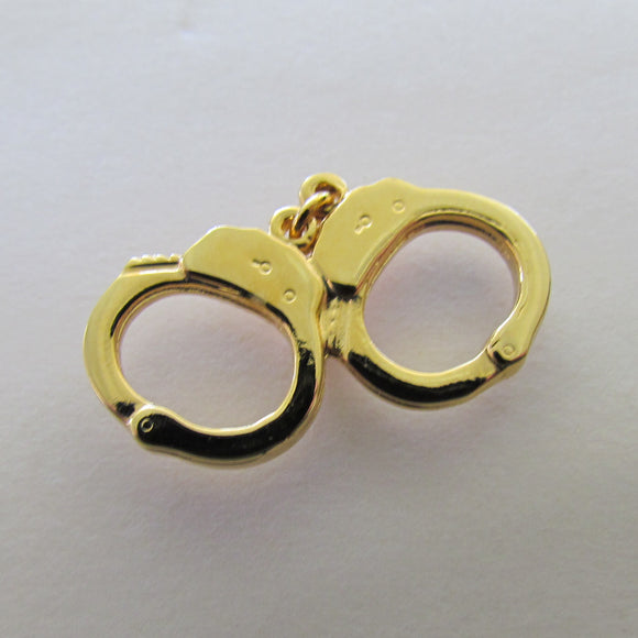 Handcuff Tie Tac Gilt Metal