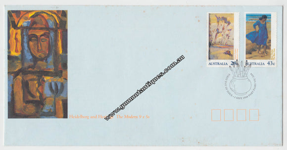 Australian First Day Cover Heidleburg And Heritage The Modern 9 x 5 Postmarked 3 Sept 1990