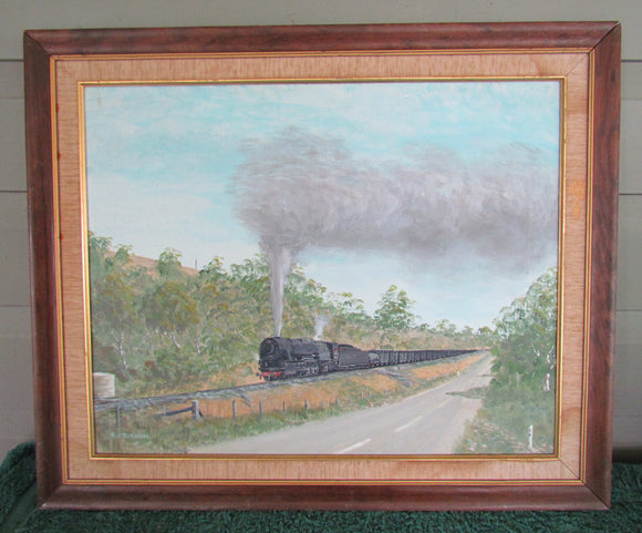 R Stevenson South African Artist Oil On Board Of A Coal Train In The Veld