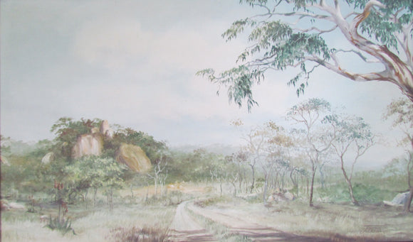 J Jackson South African Artist Oil On Board Of A Landscape Near Bulawayo