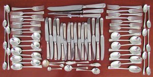 Mappin & Webb Art Deco Style Tapered Stack Sterling Silver 70 Piece Cutlery Set Hallmark Dates Vary