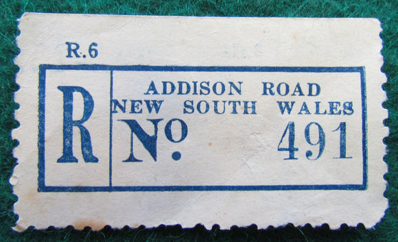 Registered Post Label Stamp Addison Road New South Wales Australia No 491