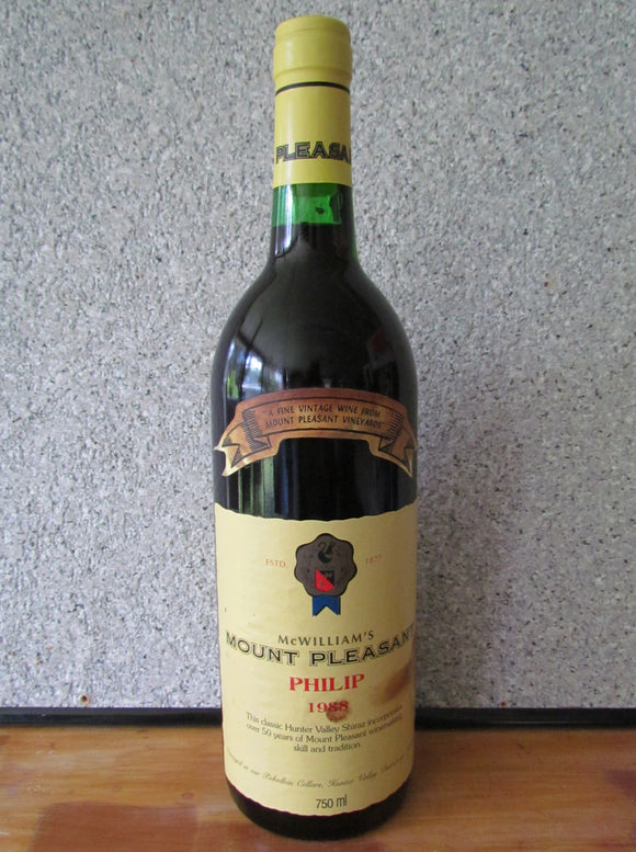 1988 McWilliams Mount Pleasant Shiraz Philip 750 ml