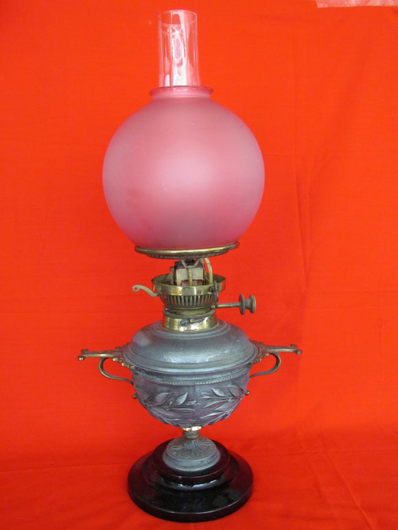 Victorian Pewter & Brass Duplex Burner Oil Lamp with Red Glass Shade