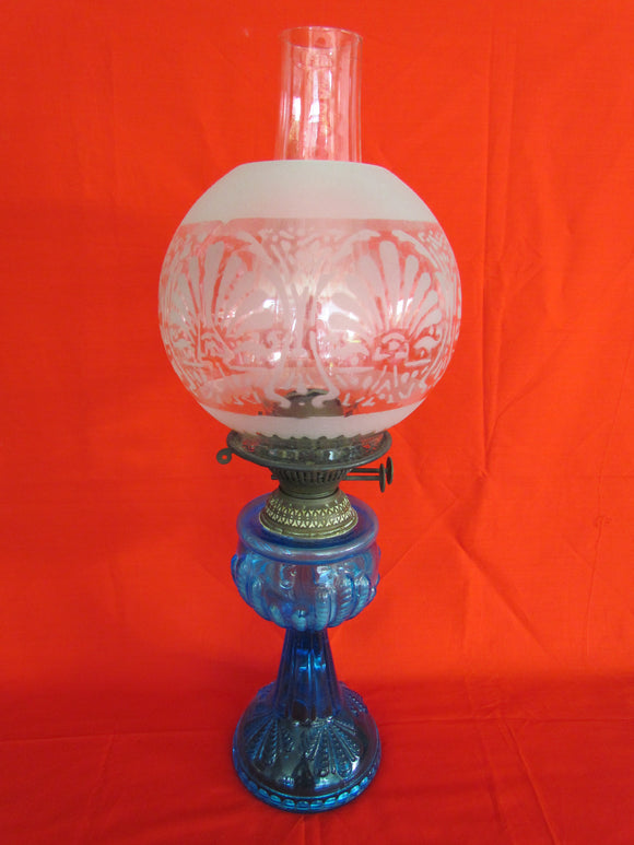 Victorian Blue Glass Duplex Burner Oil Lamp With Clear Glass Etched Shade