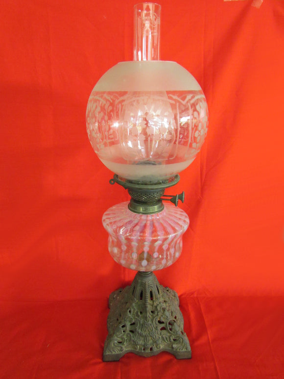 Victorian Cast Iron Duplex Burner Oil Lamp With Pink Vaseline Font And Clear Etched Glass Shade