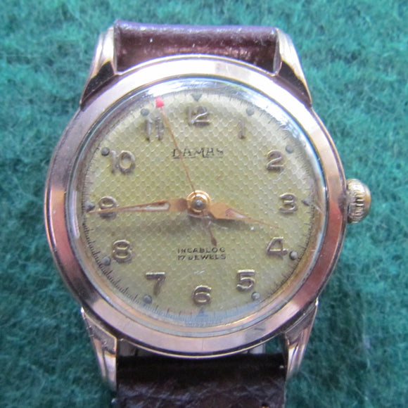 Damas 9ct Gold Vintage Mens Wriswatch Crown Wind & Set 1950 - 1960's