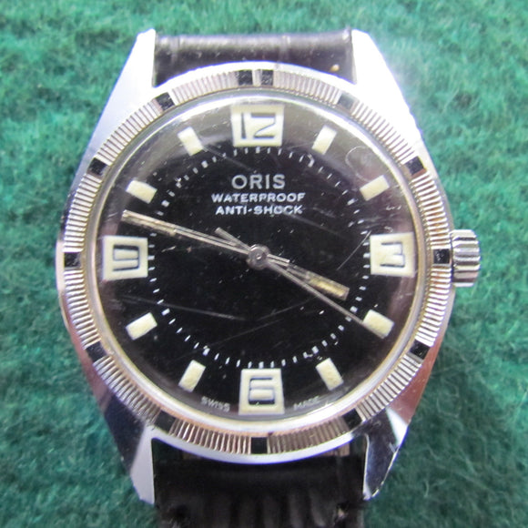 Oris Explorer Black Face Stainless Steel Vintage Mens Wriswatch Crown Wind & Set 1960's