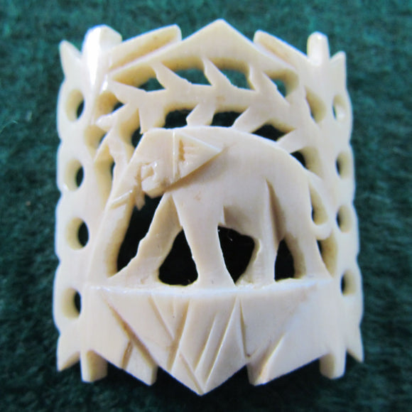 Ivory Pierce Carved Bracelet Panel With Elephant Motif