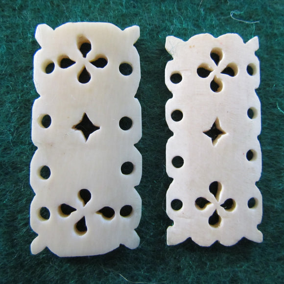Ivory Pierce Carved Bracelet Panels x 2