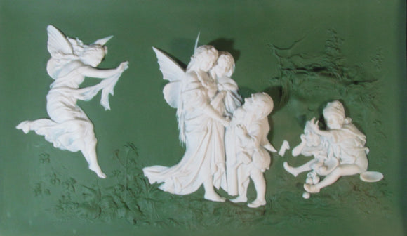 Jasper Ware Plaque In An Art Nouveau Theme With Angels & Nymphs Possibly Volkstedt