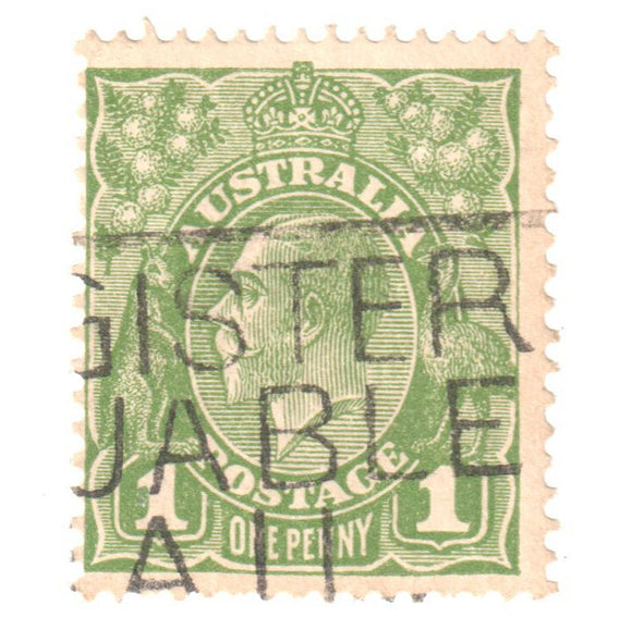 Australian 1 Penny Green KGV King George V Stamp - Type 6 C of A Reverse Watermark