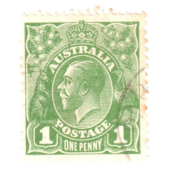 Australian 1 Penny Green KGV King George V Stamp - Type 5 Small Multiple Watermark