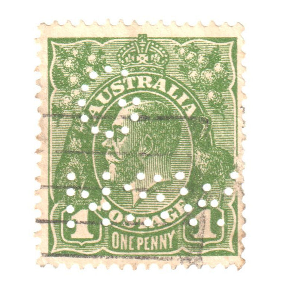 Australian 1 Penny Green KGV King George V Stamp - Perforated G NSW