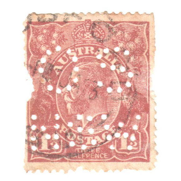 Australian 1 1/2 Penny Brown KGV King George V Stamp - Perforated OS NSW