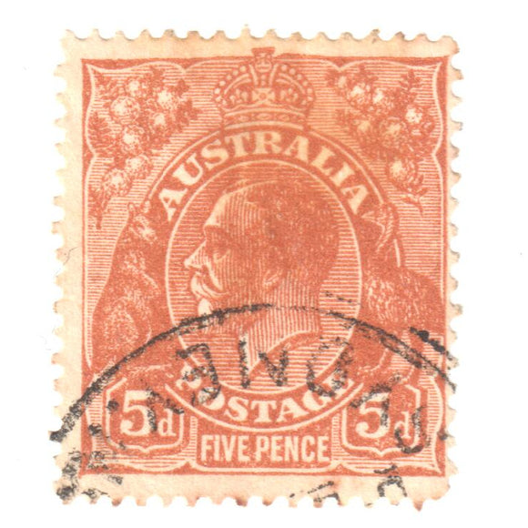 Australian 5 Penny Brown King George V Stamp