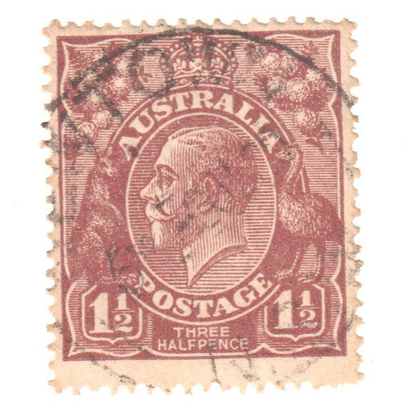 Australian 1 1/2 Penny Brown KGV King George V Stamp - Type 2 Second Watermark