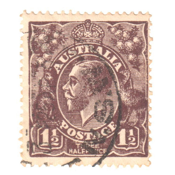 Australian 1 1/2 Penny Brown KGV King George V Stamp - Type 5 Small Multiple Watermark