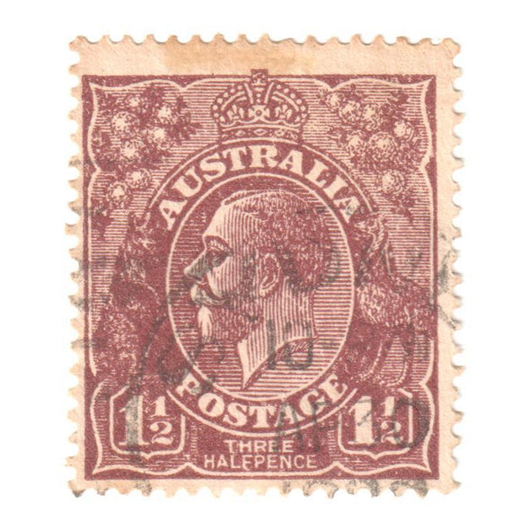 Australian 1 1/2 Penny Brown KGV King George V Stamp - Type 4 Large Multiple Watermark