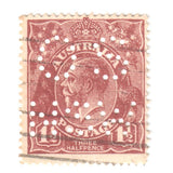 Australian 1 1/2 Penny Brown KGV King George V Stamp - Perforated OS NSW Type 2 Second Watermark