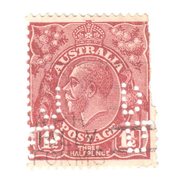 Australian 1 1/2 Penny Brown KGV King George V Stamp - Perforation Variant Type 6 Reversed Cof A Watermark
