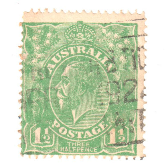 Australian 1 1/2 Penny Green KGV King George V Stamp - Type 2 Second Watermark
