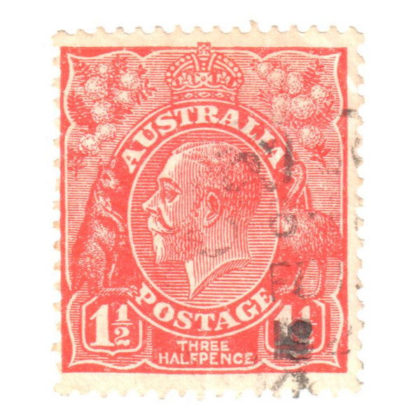 Australian 1 1/2 Penny Red KGV King George V Stamp - Type 5 Small Multiple Watermark