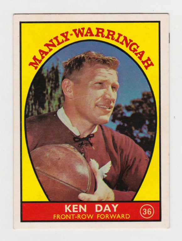 Scanlens 1968 A Grade NRL Football Card #36 - Ken Day - Manly Warringah