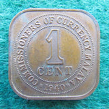 Malaya 1940 One Cent King George VI Coin - Circulated