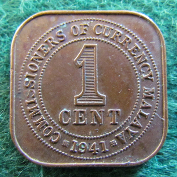 Malaya 1941 One Cent King George VI Coin - Circulated