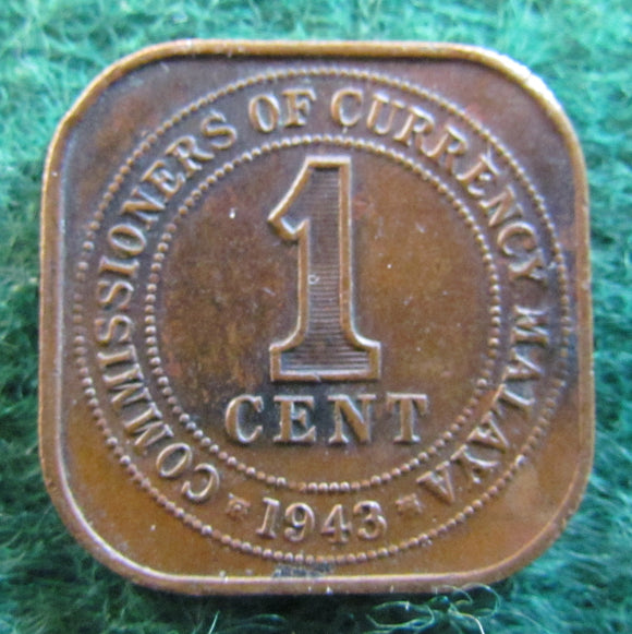 Malaya 1943 One Cent King George VI Coin - Circulated