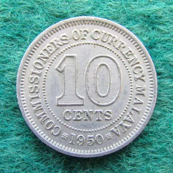 Malaya 1950 10 Cent King George VI Coin - Circulated